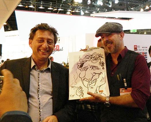 caricaturist and speed-cartoonist, tradeshow artist Frankfurt trade fair