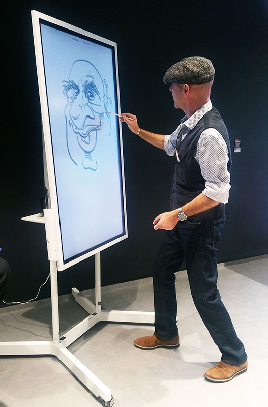 digital caricaturist and speed-cartoonist, tradeshow artist Frankfurt trade fair